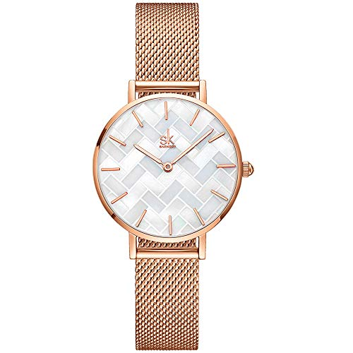 Thin Minimalist Shell Dial Women Watch with Genuine Leather