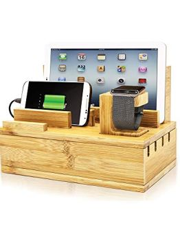 Apple Watch Charging Station Bamboo Finish