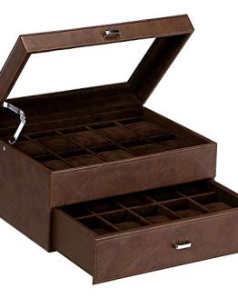 20 Slots Faux Leather Watch Display Case