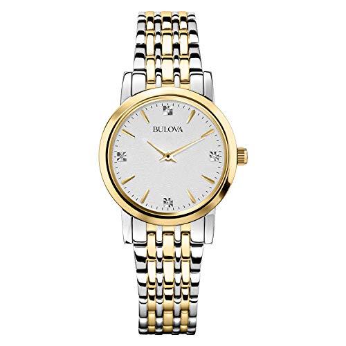 Bulova Diamond Accented Silver-Tone Bracelet Watch