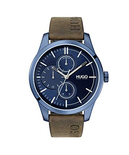Brown HUGO by Hugo Boss Quartz Watch with Leather Strap