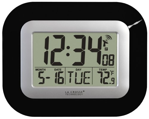 Atomic Digital Wall Clock with Indoor Temperature