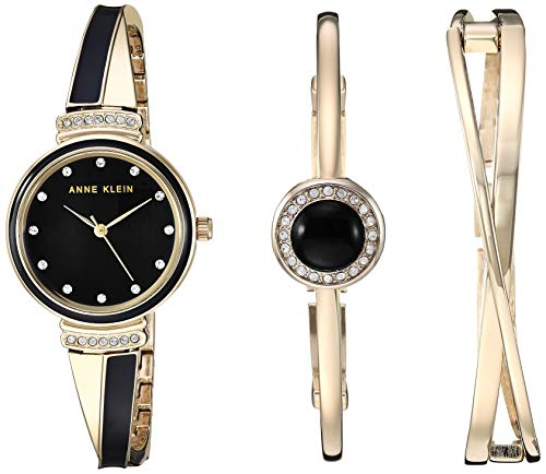 Gold-Tone and Black Watch and Bangle Set Anne Klein