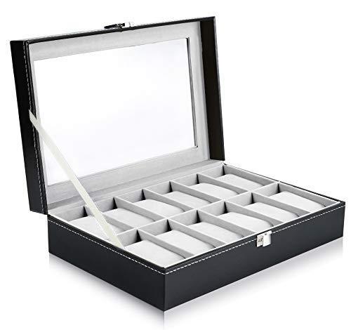 Ohuhu Watch Box, 12 Slot Watch Case PU Leather