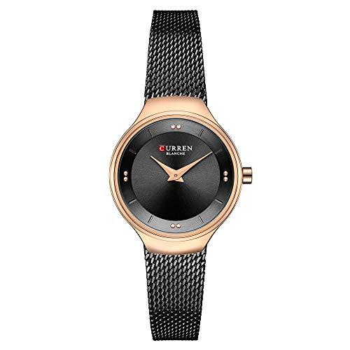 Rose Gold Black Mesh Strap Ladies Dress Wristwatch