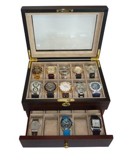 TIMELYBUYS 20 Piece Ebony Walnut Wood Men's Watch Box