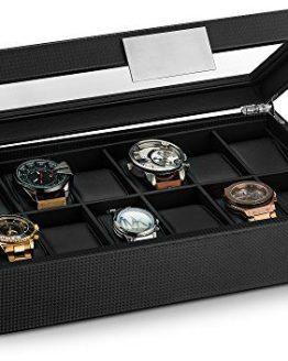 Glenor Co Watch Box for Men - 12 Slot Luxury Carbon Fiber
