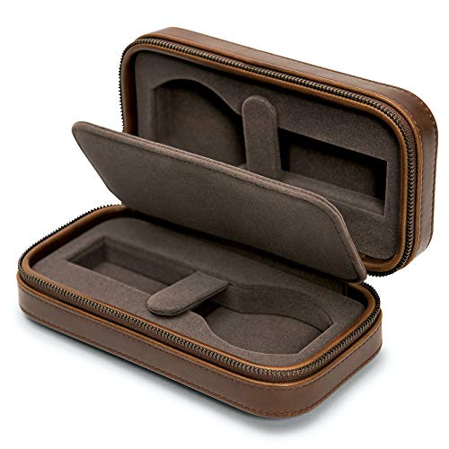 Leather Watch Travel Case Pouch with Zipper