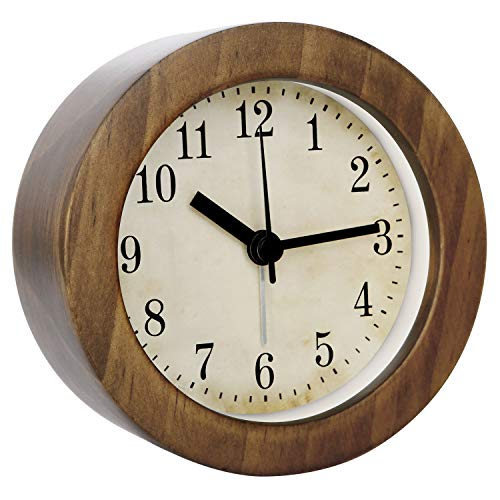 3 Inch Small Retro Analog Wooden Alarm Clock/Desk Clock