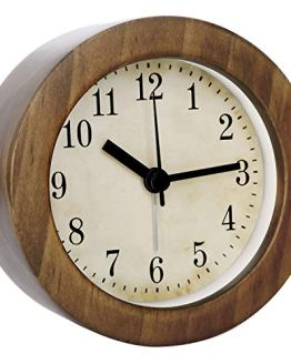 3 Inch Small Retro Analog Wooden Alarm Clock/Desk Clock