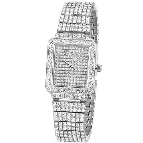 Silver Square Dial Diamond Wrist Watch