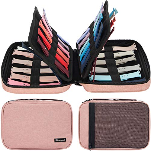 Pink 36 Watch Bands Storage Carrying Case
