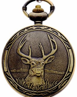 Quartz Pocket Watch with Chains Retro Deer Half Hunter