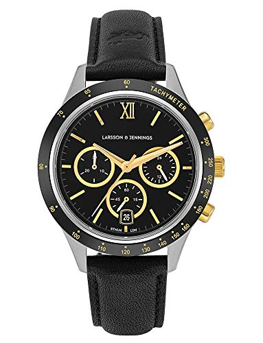 Larsson and Jennings Gold Dial and Black Leather Strap