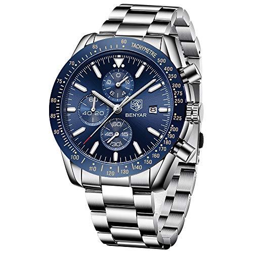 BENYAR - Wrist Watch for Men, Stainless Steel Strap Watches
