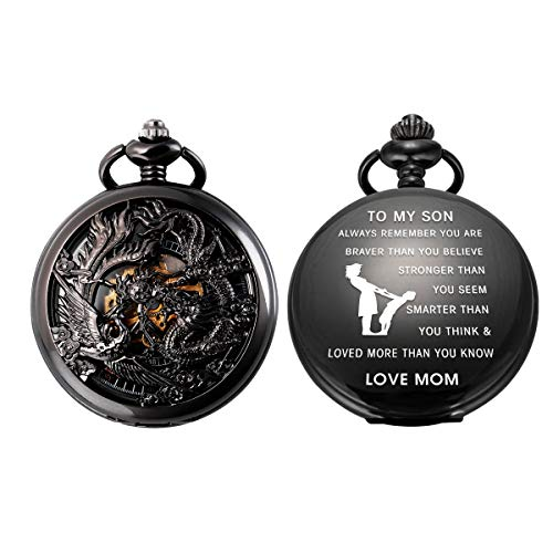 Pocket Watch Personalized Engraved Dragon Phoenix