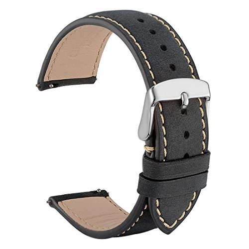 18mm Watch Band Quick Release Leather Watch Strap Black