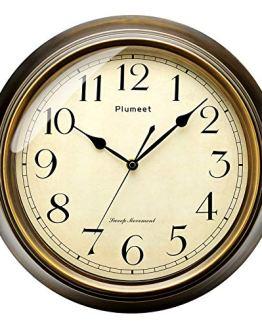 Plumeet Small Retro Wall Clock - 10'' Non Ticking Classic Silent Clocks