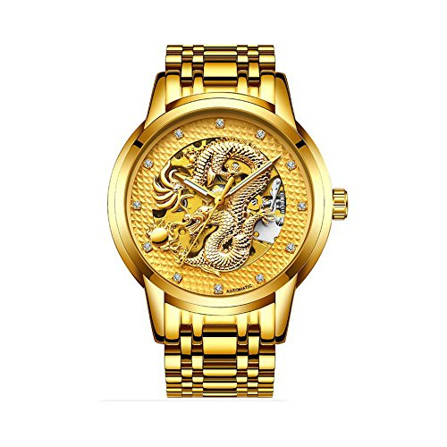 Luxury Gold Dragon Carved Dial Diamond Automatic Skeleton