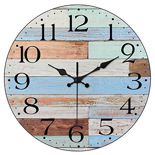 Kitchen Silent Wall Clock Worn Blue