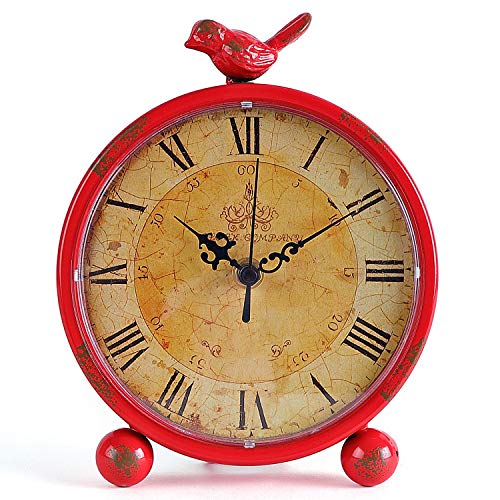 Table Clock Konigswerk Table Clocks, Retro Tabletop 8 Inches Metal Desk Battery Operated with Bird