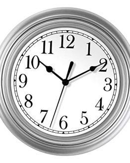 Silver Wall Clock 9 inch Silent Non Ticking Quartz