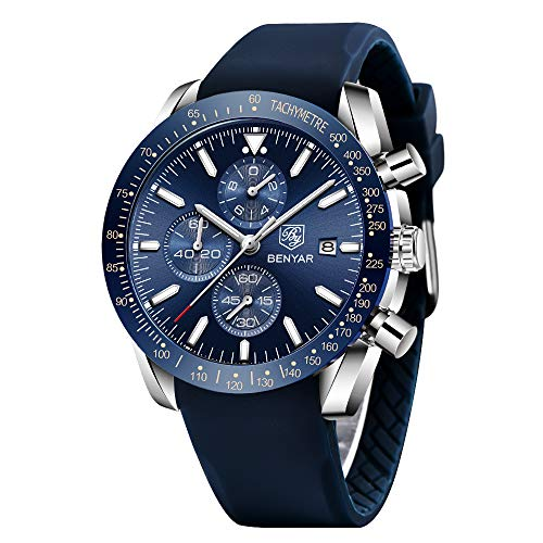 BENYAR - Stylish Wrist Watch for Men, Silicon Strap Quartz Movement