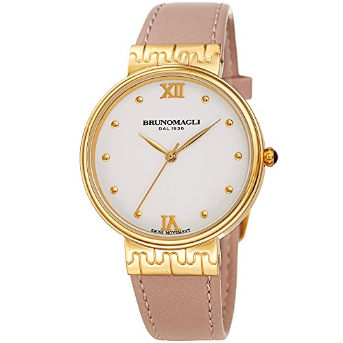 Bruno Magli White Dial Pale Pink Italian Leather Strap Watch