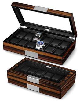 Wood Luxury Watch Box with Large Glass Window
