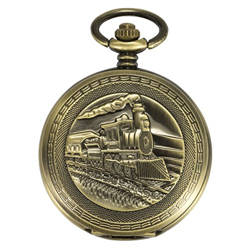 ManChDa Antique Mens Pocket Watch Skeleton Mechanical