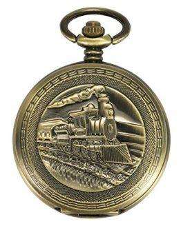 ManChDa Antique Mens Pocket Watch Skeleton Mechanical