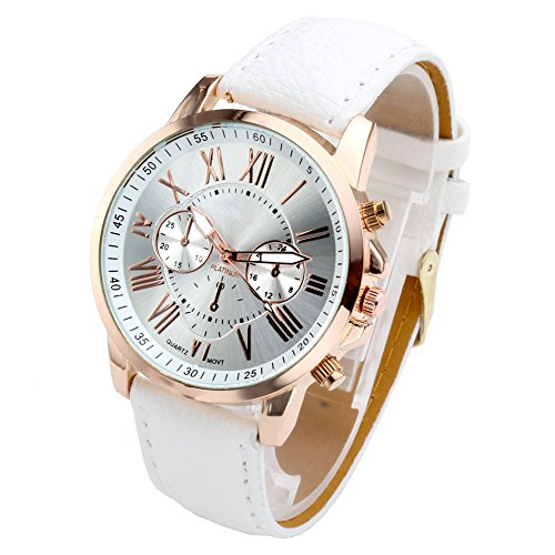 Women's Analog Watch Leather Band Rose Gold Tone