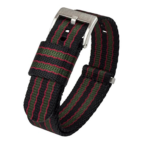 NATO Style Watch Strap Green, Red 22mm