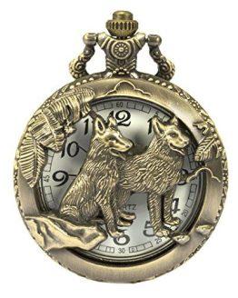 SIBOSUN Pocket Watch Steampunk Wolf Wolves Pattern Chain