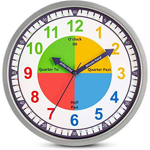 Colorful Kids Wall Clock Teaching Time Telling Silent Non-Ticking