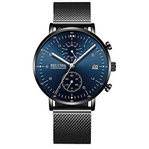 Men Minimalist Quartz Watch Blue/Black