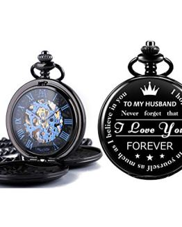 Pocket Watch with Box and Chain Personalized Custom Engraving