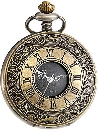 Bronze Pocket Watch with Chain Mudder Vintage Roman Numerals