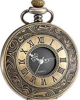 Bronze Pocket Watch with Chain Mudder Vintage Roman Numerals