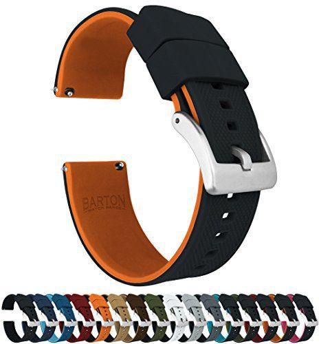 22mm Black/Pumpkin Orange - Barton Elite Silicone Watch Bands