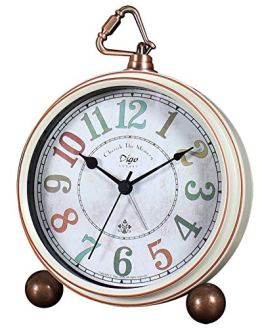 Non-Ticking Mantel Clock Alarm Clocks Easy to Read Large