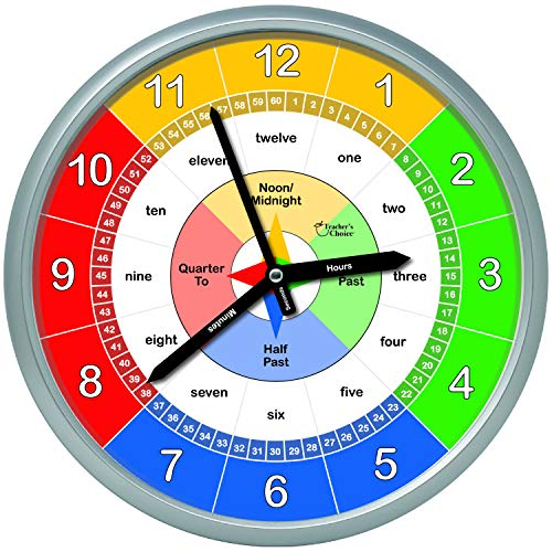 Educational Wall Clock Silent Movement Time