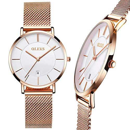 Women's Thin Watch,Ladies Rose Gold Watch,Mesh Watches for Women