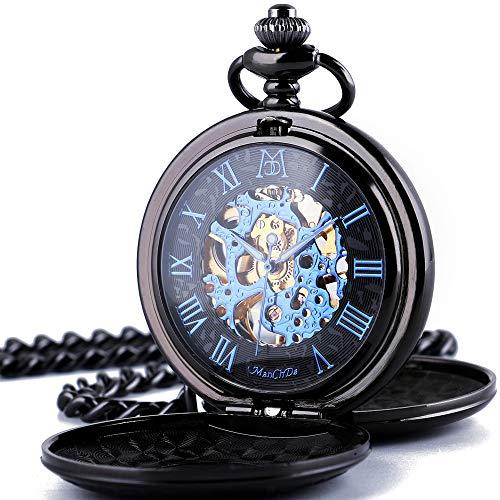 ManChDa Mechanical Roman Numerals Dial Skeleton Pocket Watches
