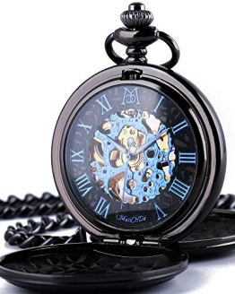 ManChDa Mechanical Roman Numerals Dial Skeleton Pocket Watches