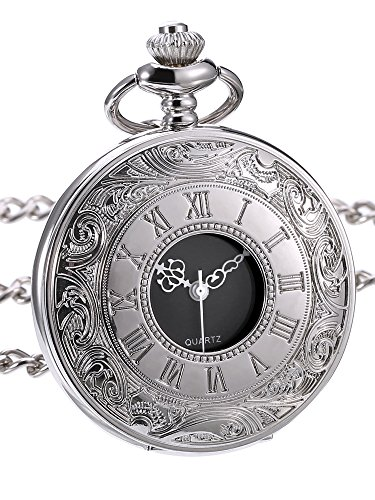 Quartz Pocket Watch with Roman Numerals Scale and Chain Belt