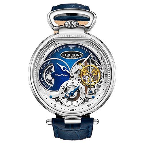 Stuhrling Orignal Mens Skeleton Watch Blue Leather Luxury Dress Watch