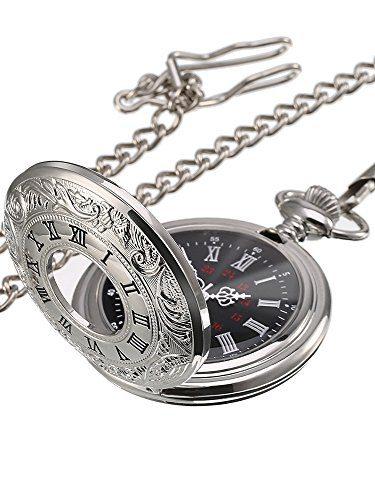 Silver Vintage Pocket Watch Steel Men Watch