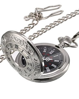 Silver Vintage Pocket Watch Steel Men Watch