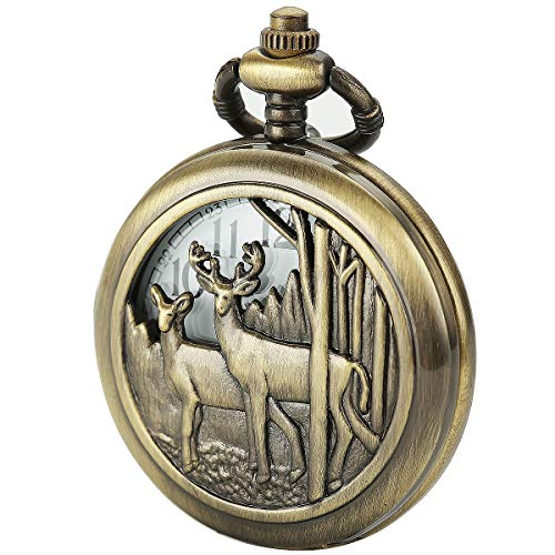 vSIBOSUN Pocket Watch with Chain Deer Reindeer Woodland